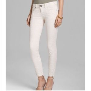 Free People | 26 | White Embossed Lace Ankle Jeans